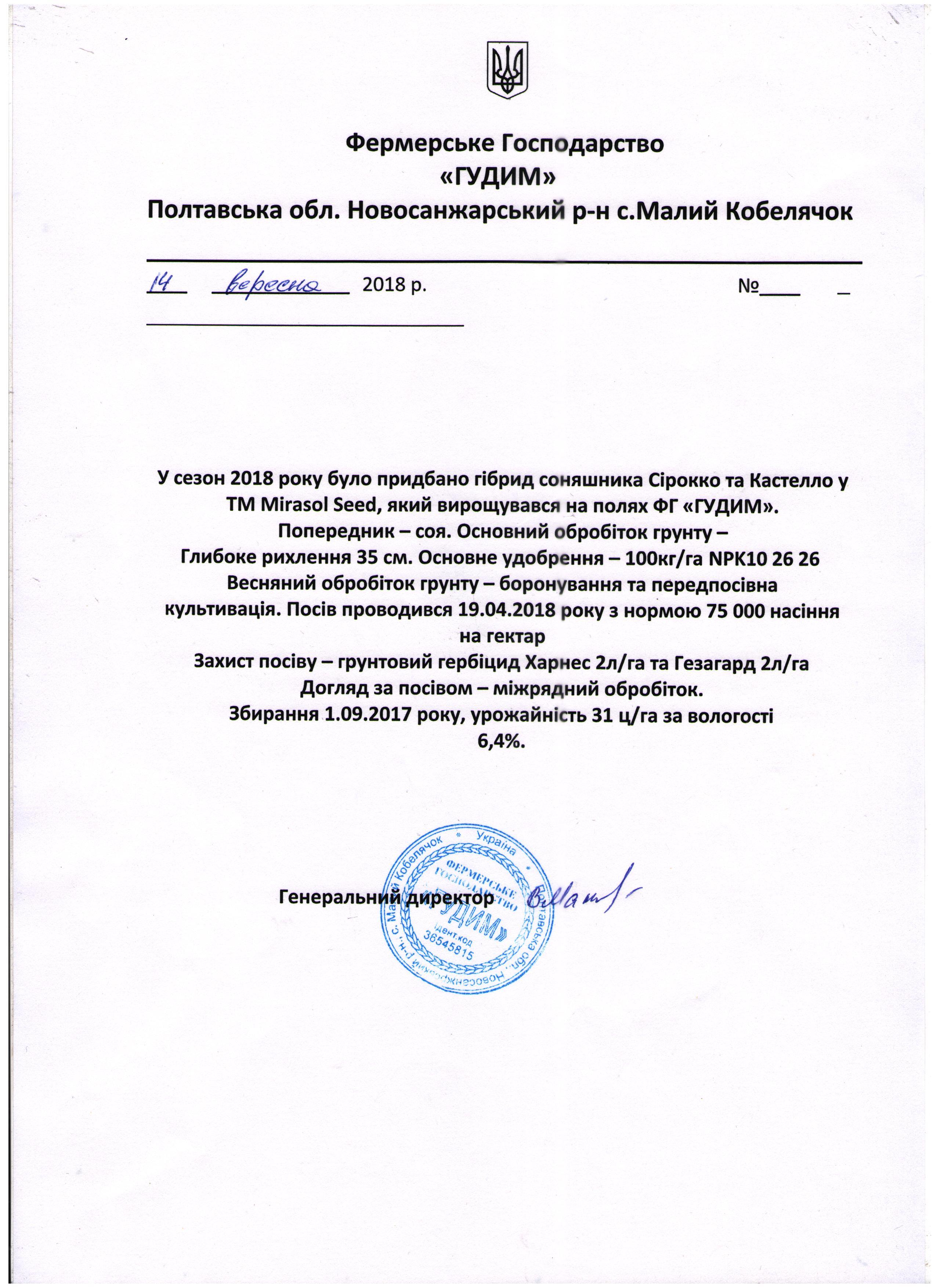 Подсолнечник ТМ Мирасол гибрид Кастело
